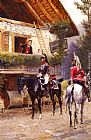 Jean Baptiste Edouard Detaille - Officers from a Cuirassier Regiment in front of a Country House
