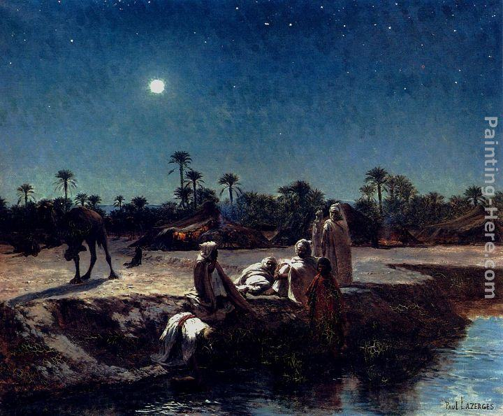 Jean Baptiste Paul Lazerges An Arab Encampment By Moonlight