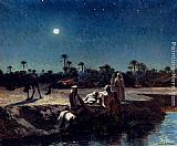 Jean Baptiste Paul Lazerges - An Arab Encampment By Moonlight