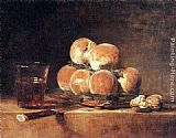 Jean Baptiste Simeon Chardin Canvas Paintings - A Basket of Peaches
