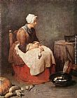 Jean Baptiste Simeon Chardin Canvas Paintings - Girl Peeling Vegetables