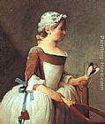 Jean Baptiste Simeon Chardin Canvas Paintings - Girl with Racket and Shuttlecock