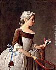 Jean Baptiste Simeon Chardin Girl with a featherball racket painting