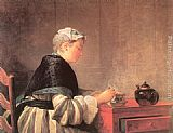Jean Baptiste Simeon Chardin Canvas Paintings - Lady Taking Tea