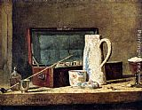 Jean Baptiste Simeon Chardin Famous Paintings - Pipes And Drinking Pitcher