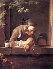 Jean Baptiste Simeon Chardin Famous Paintings - Soap Bubbles