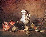 Jean Baptiste Simeon Chardin Famous Paintings - Still Life with Grapes and Pomegranates