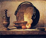 Jean Baptiste Simeon Chardin Famous Paintings - Still Life with Pestle, Bowl, Copper Cauldron, Onions and a Knife