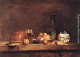 Jean Baptiste Simeon Chardin Famous Paintings - Still-Life with Jar of Olives