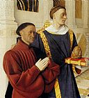 Jean Fouquet - Etienne Chevalier With St. Stephen (panel of the Melun Diptych)