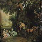 Jean-Antoine Watteau - A halt during the chase