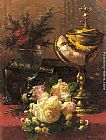 Jean-Baptiste Robie - A Bouquet of Roses and other Flowers in a Glass Goblet with a Chinese Lacquer Box and a Nautilus Cup on a red Velvet draped Table