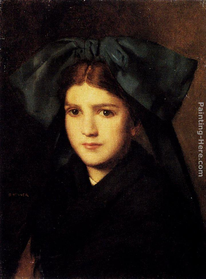 Jean-Jacques Henner A Portrait Of A Young Girl With A Bow In Her Hair