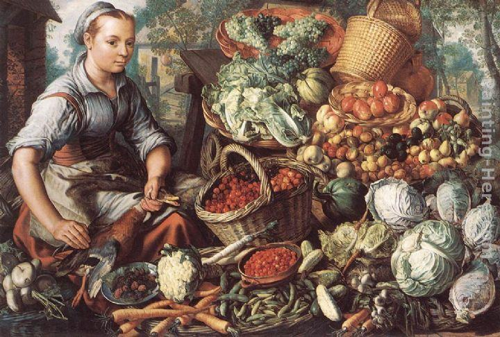Joachim Beuckelaer Market Woman with Fruit, Vegetables and Poultry