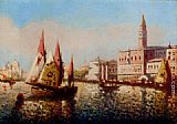 Marco Canvas Paintings - Trading Vessels In The Bacino Di San Marco, Venice