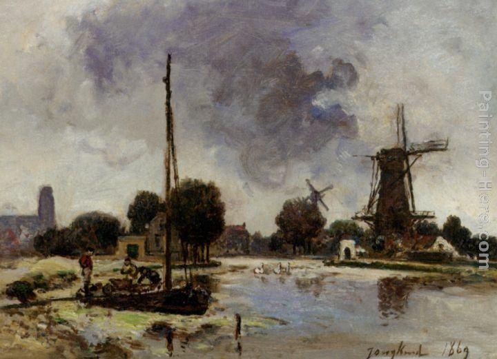 Johan Barthold Jongkind A Sailboat Moored on the Bank of a Stream