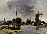 Johan Barthold Jongkind - A Sailboat Moored on the Bank of a Stream