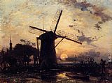 Johan Barthold Jongkind - Boatman by a Windmill at Sundown