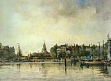 Johan Hendrik Van Mastenbroek - A Townview with Moored Vessels along a Quay