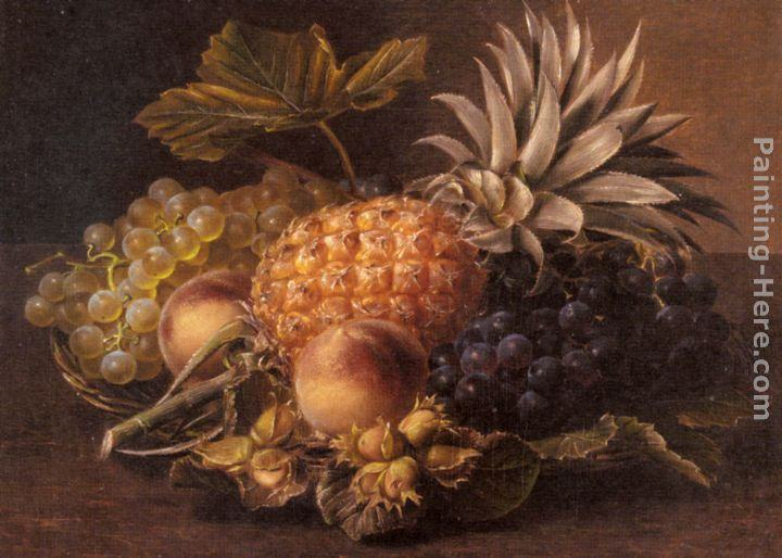 Johan Laurentz Jensen Grapes, a Pineapple, Peaches and Hazelnuts in a Basket