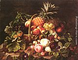 Johan Laurentz Jensen - A Still Life Of A Basket Of Fruit And Roses