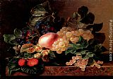Johan Laurentz Jensen - Grapes, Strawberries, a Peach, Hazelnuts and Berries in a Bowl on a marble Ledge
