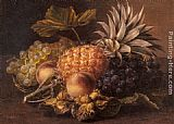 Johan Laurentz Jensen - Grapes, a Pineapple, Peaches and Hazelnuts in a Basket