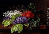 Johan Laurentz Jensen White and purple Lilacs, Camellia and Beech Leaves on a marble Ledge painting