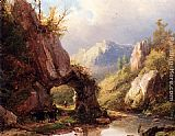 Stream Wall Art - A Mountain Valley With A Peasant And Cattle Passing Along A Stream
