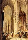 Johannes Bosboom - A Church Interior With People Attending Mass