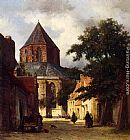 Johannes Bosboom - Figures In The Streets Of A Dutch Town, A Church In The Background