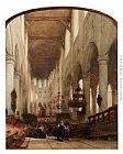 Johannes Bosboom - Worshippers In The Central Aisle Of The Pieterskerk, Leyden