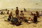 Famous Children Paintings - Children Playing On The Beach