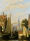 Johannes Frederik Hulk - Boats on a Canal in a Dutch Town