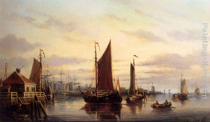 Johannes Hilverdink A View Of The IJ, Amsterdam, With Various Shipping Near Het Slagthuys