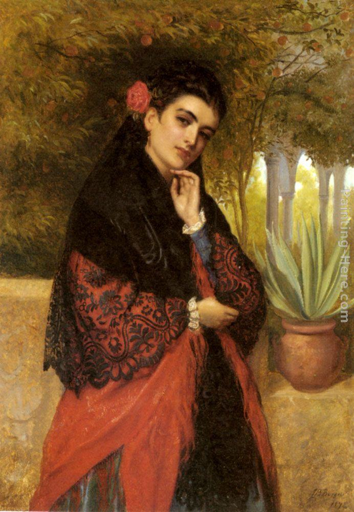 John Bagnold Burgess A Spanish Beauty in a Red and Black Lace Shawl