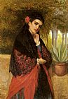 John Bagnold Burgess - A Spanish Beauty in a Red and Black Lace Shawl