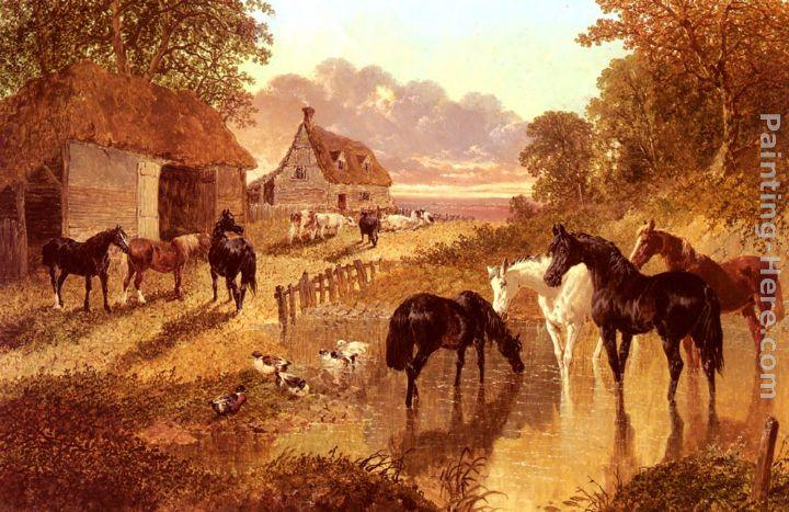 John Frederick Herring Snr The Evening Hour - Horses And Cattle By A Stream At Sunset