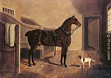Horse Wall Art - A Favorite Coach Horse and Dog in a Stable