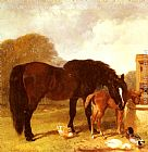 John Frederick Herring Snr - Horse and Foal watering at a trough