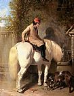 John Frederick Herring Snr - Refreshment, A Boy Watering His Grey Pony
