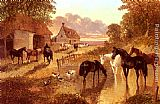 Famous Cattle Paintings - The Evening Hour - Horses And Cattle By A Stream At Sunset