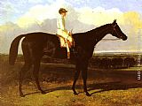 Famous Horse Paintings - a drak bay Race Horse, at Goodwood, T. Ryder up
