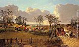 John Frederick Herring, Jnr - A Hunting Scene with a Coach and Four on the Open Road