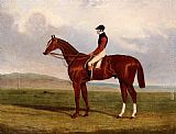 John Frederick Herring, Jnr - Elis, A Chestnut Racehorse With John Day Up Waering The Colours Of Lord Lichfield, A Racehorse Beynd