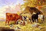 John Frederick Herring, Jnr - Horses, Cows, Ducks and a Goat by a Farmhouse