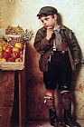 John George Brown Eyeing the Fruit Stand painting