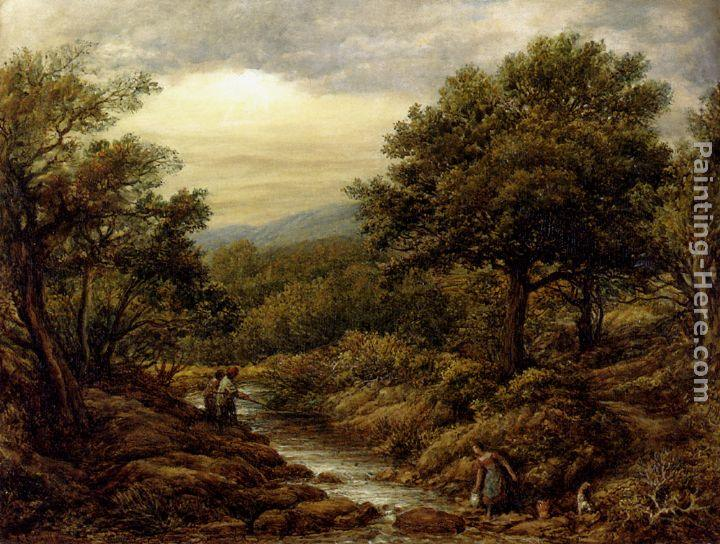 John Linnell A River Landscape, With Two Boys Fishing And A Girl Fetching Water