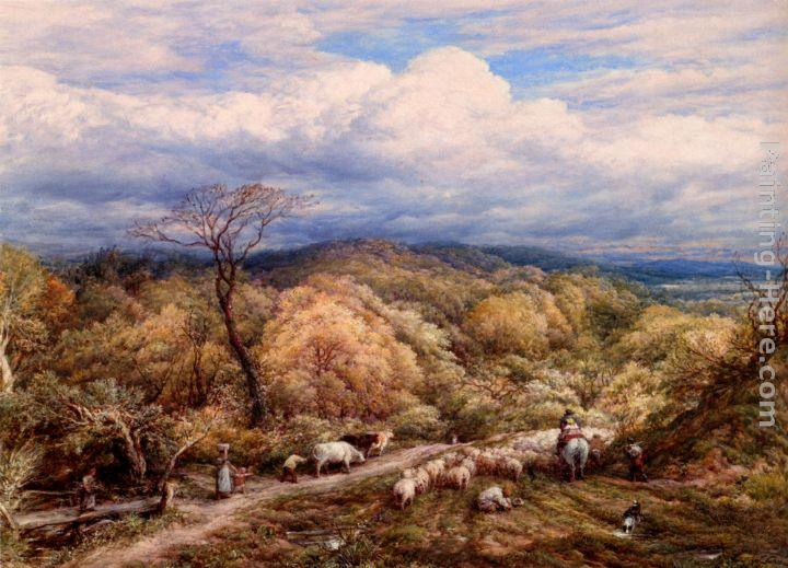 John Linnell An Autumn Afternoon With Shepherd And Flock