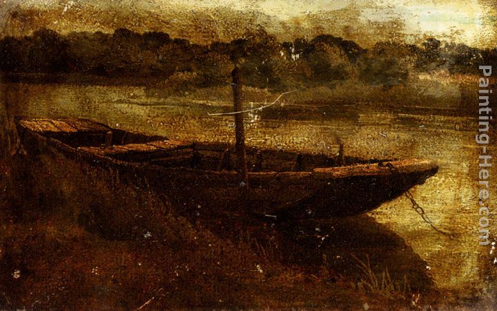 John Linnell Study Of A Punt Moored At Twickenham